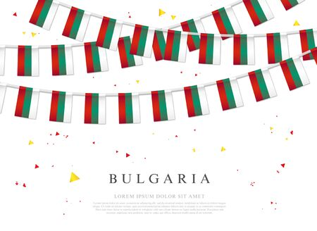 Garland of bulgarian flags. Independence Day of Bulgaria. Vector illustration on white background. Elements for design.