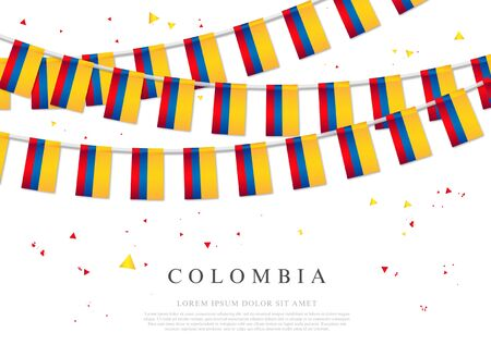 Garland of Colombian flags. July 20 - Colombian Independence Day. Vector illustration on white background. Elements for design.