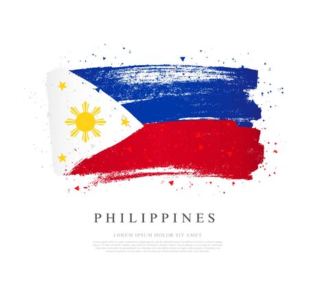 Flag of the Philippines. Vector illustration on white background. Brush strokes drawn by hand. Independence Day.