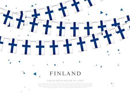 Garland of Finnish flags. Finnish Independence Day. Vector illustration on white background. Elements for design.