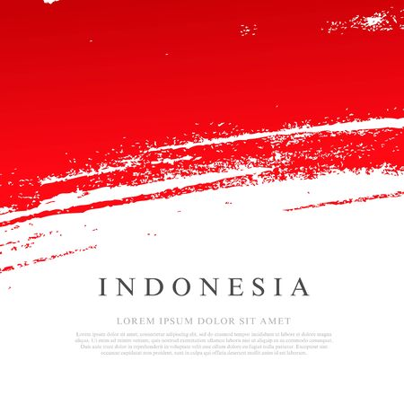 Flag of Indonesia. Vector illustration on white background. Brush strokes drawn by hand. Independence Day.