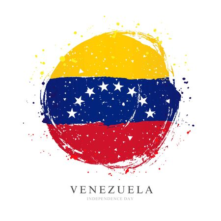 Venezuelan flag in the form of a large circle. Vector illustration on white background. Brush strokes drawn by hand. Independence Day of Venezuela.
