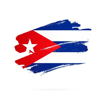Cuban flag. Vector illustration on white background. Brush strokes drawn by hand. Cuba Independence Day.