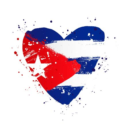Cuban flag in the form of a big heart. Vector illustration on white background. Brush strokes drawn by hand. Cuba Independence Day.