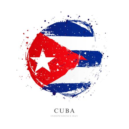 Cuban flag in the form of a large circle. Vector illustration on white background. Brush strokes drawn by hand. Cuba Independence Day.