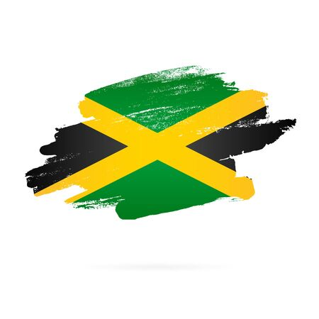 Jamaican flag. Vector illustration on white background. Brush strokes drawn by hand. Jamaica Independence Day.