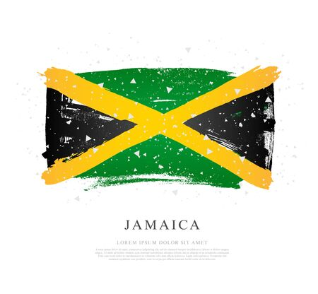 Flag of Jamaica. Vector illustration on white background. Brush strokes drawn by hand. Independence Day.
