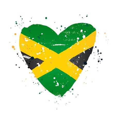 Jamaican flag in the form of a big heart. Vector illustration on white background. Brush strokes drawn by hand. Jamaica Independence Day.