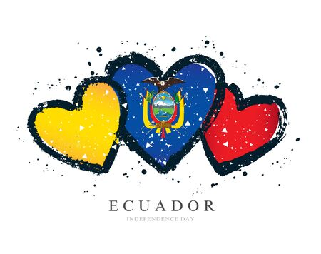 Ecuadorian flag in the form of three hearts. Vector illustration on white background. Brush strokes drawn by hand. Ecuador Independence Day.
