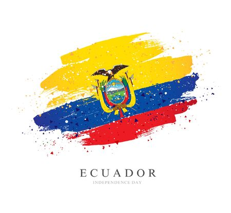 Flag of Ecuador. Vector illustration on white background. Brush strokes drawn by hand. Independence Day.