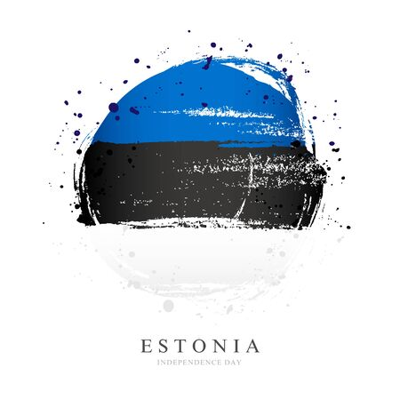 Estonian flag in the form of a large circle. Vector illustration on white background. Brush strokes drawn by hand. Independence Day in Estonia. 向量圖像