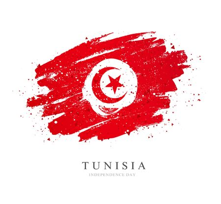 Flag of Tunisia. Vector illustration on white background. Brush strokes drawn by hand. Independence Day.
