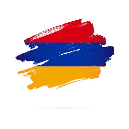 Armenian flag. Vector illustration on white background. Brush strokes drawn by hand. Independence Day of Armenia.