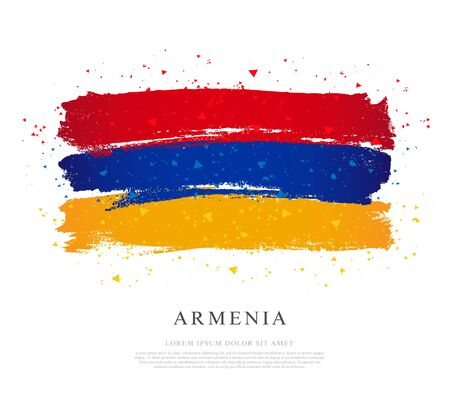Flag of Armenia. Vector illustration on white background. Brush strokes drawn by hand. Independence Day. Stock Vector - 128155146