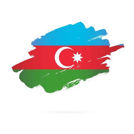 Azerbaijani flag. Vector illustration on white background. Brush strokes drawn by hand. Illustration