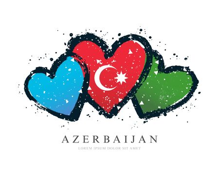 Azerbaijani flag in the form of three hearts. Vector illustration on white background. Brush strokes drawn by hand. Independence Day of Azerbaijan.