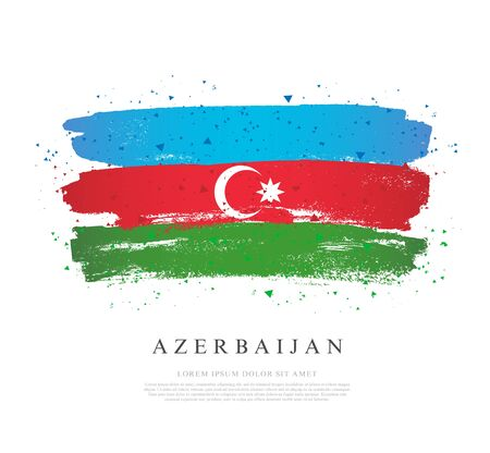 Flag of Azerbaijan. Vector illustration on white background. Brush strokes drawn by hand. Independence Day. Illustration
