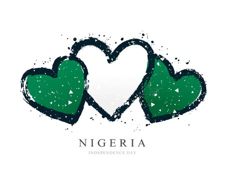 Nigerian flag in the form of three hearts. Vector illustration on white background. Brush strokes drawn by hand. Nigeria Independence Day.