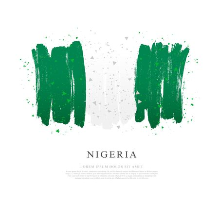 Flag of Nigeria. Vector illustration on white background. Brush strokes drawn by hand. Independence Day.