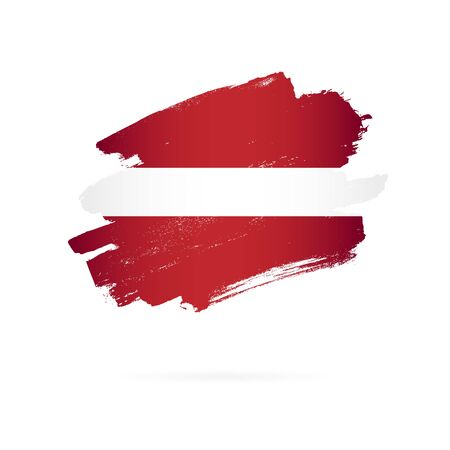 Latvian flag. Vector illustration on white background. Brush strokes drawn by hand. Independence Day of Latvia.