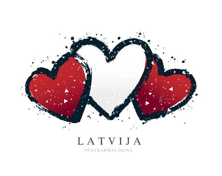 Latvian flag in the form of three hearts. Vector illustration on white background. Brush strokes drawn by hand. Independence Day of Latvia.