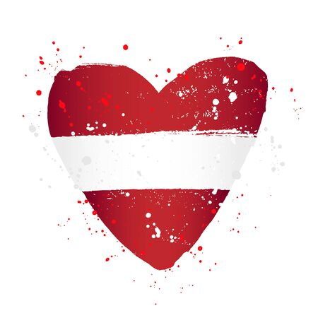 Latvian flag in the form of a big heart. Vector illustration on white background. Brush strokes drawn by hand. Independence Day of Latvia. Ilustrace