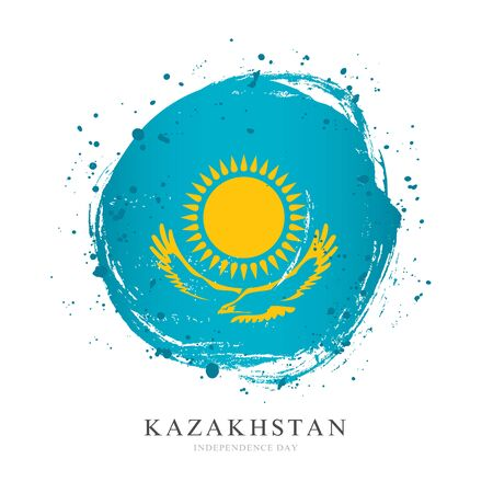 Kazakh flag in the form of a large circle. Vector illustration on white background. Brush strokes drawn by hand. Independence Day of Kazakhstan.