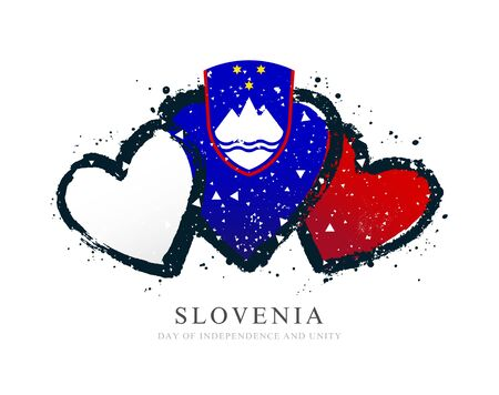 Slovenian flag in the form of three hearts. Vector illustration on white background. Brush strokes drawn by hand. Independence and Unity Day of Slovenia. 向量圖像