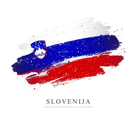 Flag of Slovenia. Vector illustration on white background. Brush strokes drawn by hand. Independence Day and unity.