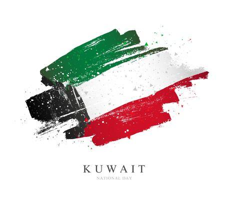 Drapeau du Koweït. Illustration vectorielle sur fond blanc. Coups de pinceau dessinés à la main. Fête nationale.