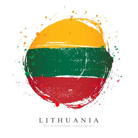 Lithuanian flag in the form of a large circle. Vector illustration on white background. Brush strokes drawn by hand. Day of restoration of independence of Lithuania.
