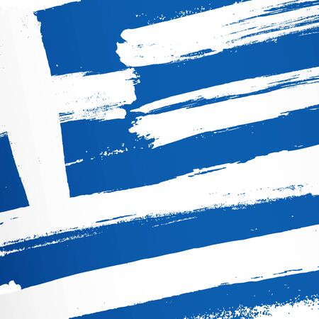 Flag of Greece. Vector illustration on white background. Brush strokes drawn by hand. Independence Day.