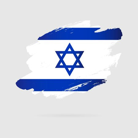 Israeli flag. Vector illustration on a gray background. Brush strokes drawn by hand. Independence Day of Israel.