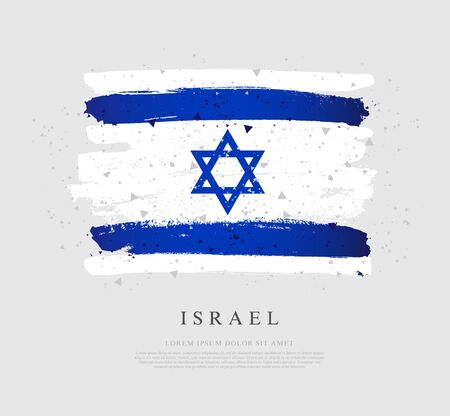 Flag of Israel. Vector illustration on a gray background. Brush strokes drawn by hand. Independence Day.