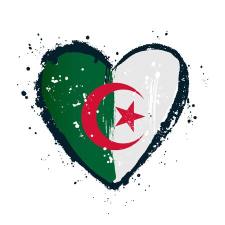 Algerian flag in the form of a big heart. Vector illustration on white background. Brush strokes are drawn by hand. Algeria Independence Day.