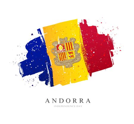 Flag of Andorra. Vector illustration on a white background. Brush strokes are drawn by hand. Independence Day.