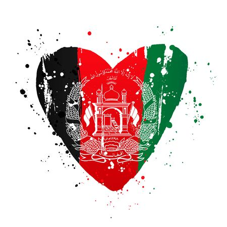Afghan flag in the form of a big heart. Vector illustration on a white background. Brush strokes are drawn by hand. Afghanistan Independence Day.