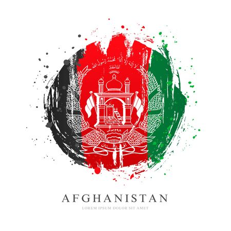 Afghan flag in the shape of a big circle. Vector illustration on a white background. Brush strokes are drawn by hand. Afghanistan Independence Day.
