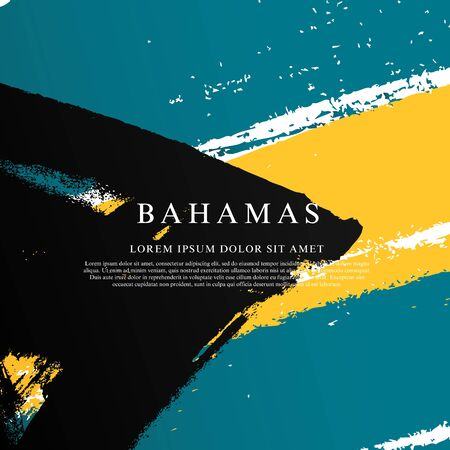 Bahamas flag. Vector illustration on a white background. Brush strokes are drawn by hand. Independence Day. Vetores