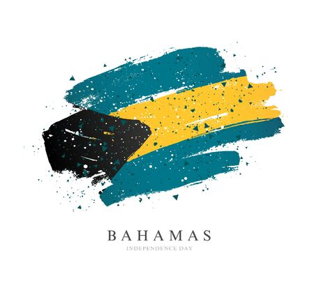 Bahamas flag. Vector illustration on a white background. Brush strokes are drawn by hand. Independence Day.