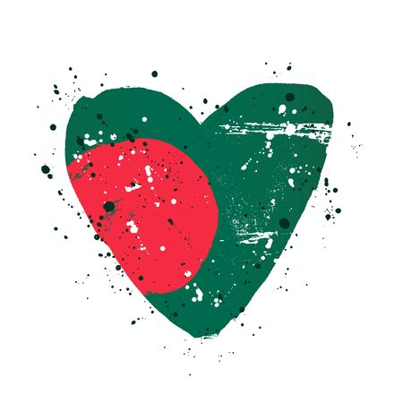 Bangladeshi flag in the form of a big heart. Vector illustration on a white background. Brush strokes are drawn by hand. Bangladesh Independence Day. Illusztráció