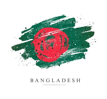 Flag of Bangladesh. Vector illustration on a white background. Brush strokes are drawn by hand. Independence Day. Illusztráció