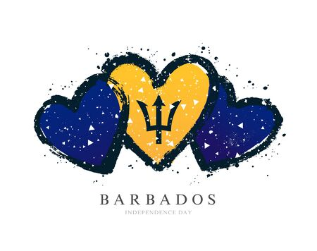 Flag of Barbados in the form of three hearts. Vector illustration on a white background. Brush strokes are drawn by hand. Independence Day.