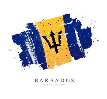 Flag of Barbodos. Vector illustration on a white background. Brush strokes are drawn by hand. Independence Day. Illustration