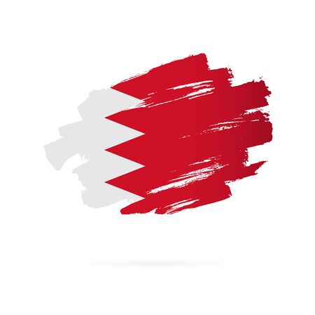 Bahrain flag. Vector illustration on a white background. Brush strokes are drawn by hand.