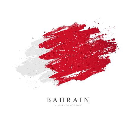 Bahrain flag. Vector illustration on a white background. Brush strokes are drawn by hand. Independence Day. Illusztráció