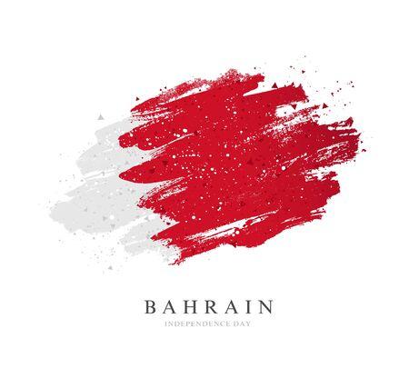 Drapeau de Bahreïn. Illustration vectorielle sur fond blanc. Les coups de pinceau sont dessinés à la main. Jour de l'indépendance.