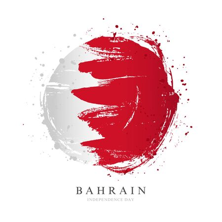 Bahrain flag in the shape of a big circle. Vector illustration on a white background. Brush strokes are drawn by hand. Independence Day.