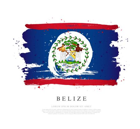 Flag of Belize. Vector illustration on a white background. Brush strokes are drawn by hand. Independence Day.