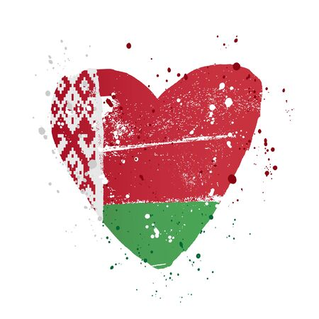 The Belarusian flag in the form of a big heart. Vector illustration on a white background. Brush strokes are drawn by hand. Independence Day of Belarus.